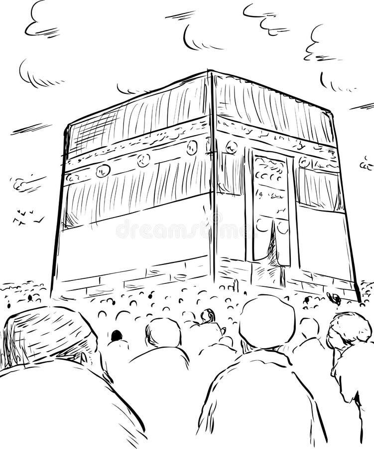 Översikt av folk runt om Kaabaen i Mecka royaltyfri illustrationer