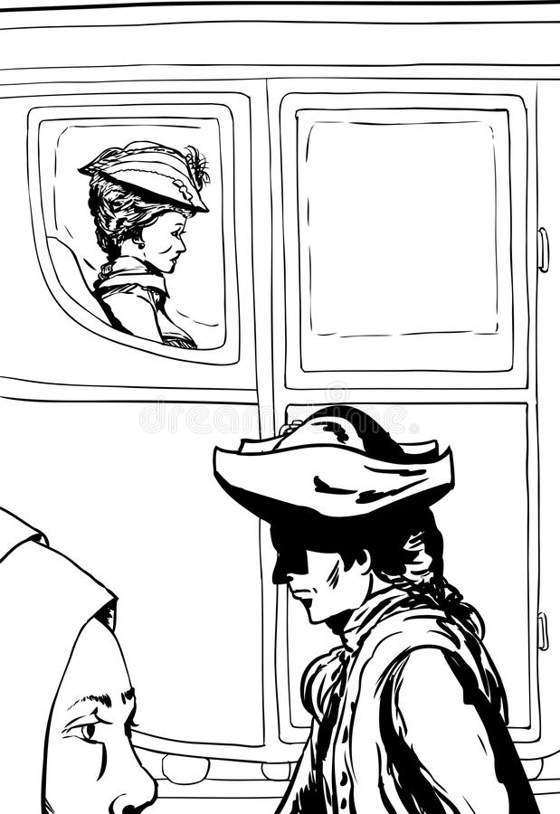 Översikt av folk som går förbi rik kvinna i vagn royaltyfri illustrationer