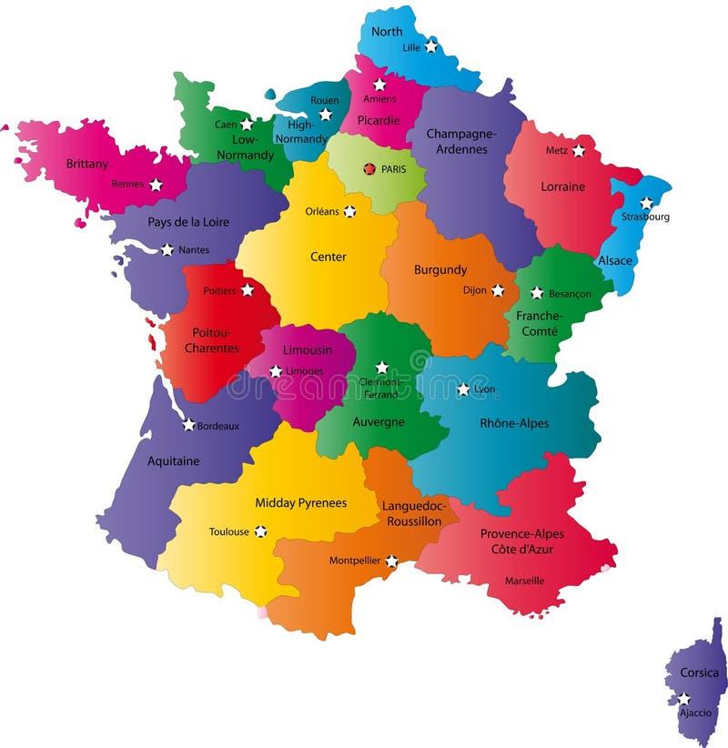 Översikt av Frankrike vektor illustrationer