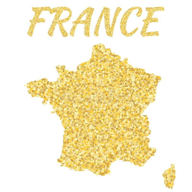 Översikt av Frankrike i guld- Med guld- gula partiklar och prickar blänka bakgrund royaltyfri illustrationer