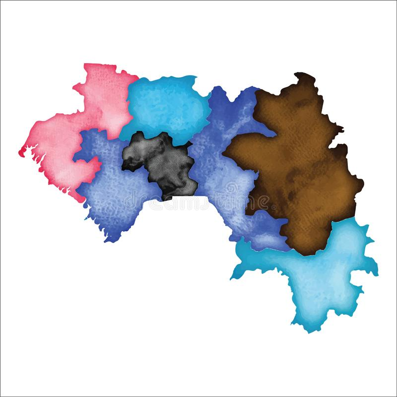 Översikt av Guinea Färgglad vattenfärgGuinea översikt royaltyfri illustrationer