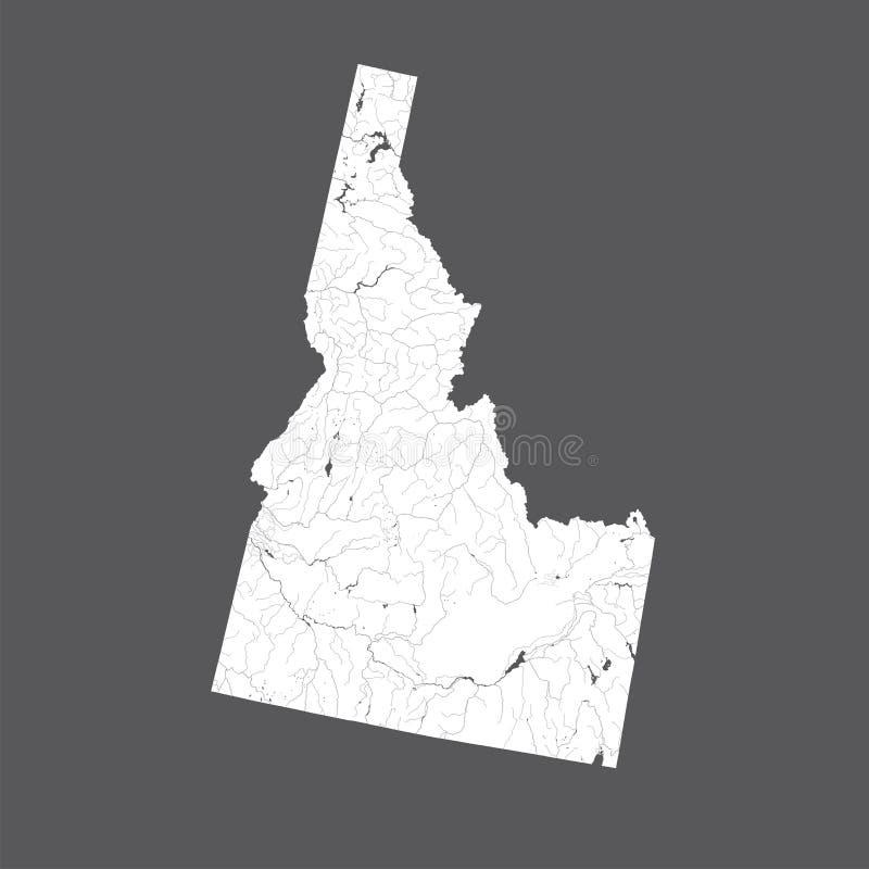 Översikt av Idaho med sjöar och floder vektor illustrationer