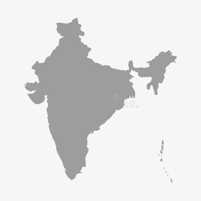 Översikt av Indien i grå färger på en vit bakgrund royaltyfri illustrationer