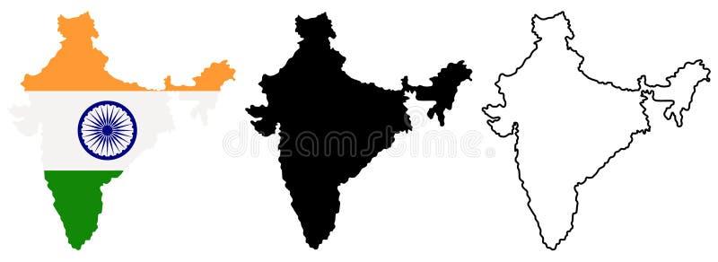 Översikt av Indien i olik stil: färgat med den indiska nationsflaggan inom, den svarta konturn och kontur vektor royaltyfri illustrationer