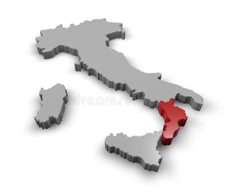 Översikt av Italien Calabria royaltyfri illustrationer