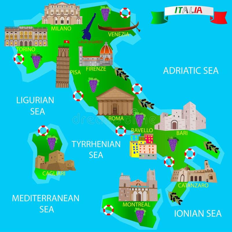 Översikt av Italien för turister Arkitektoniska monument royaltyfri illustrationer