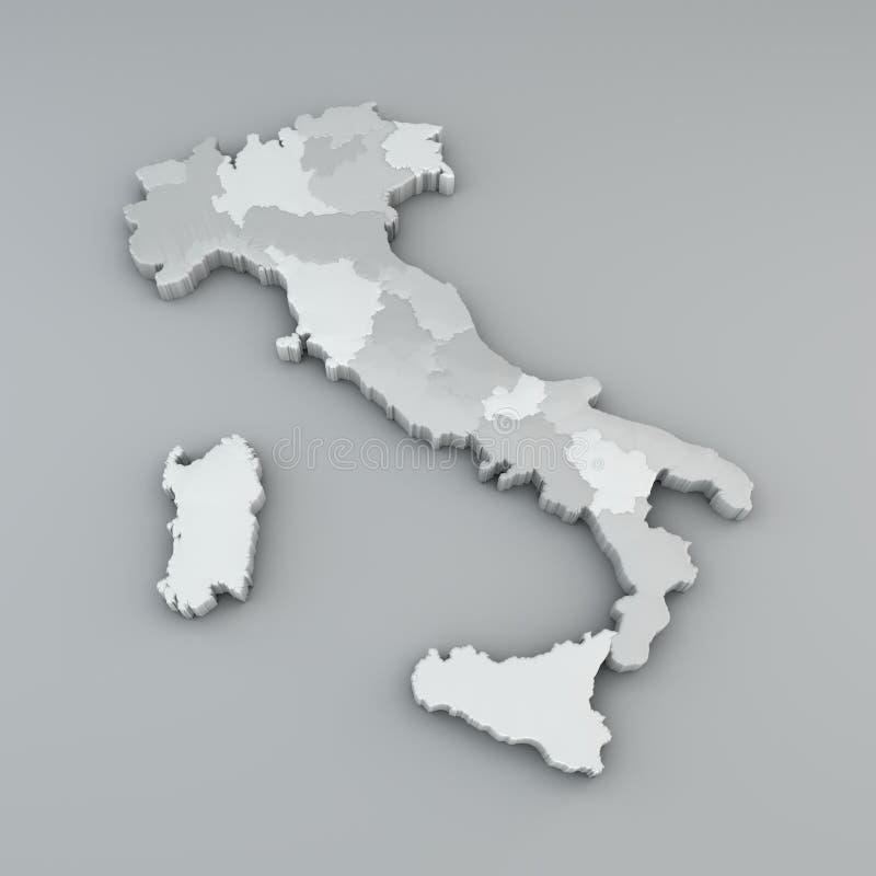 Översikt av Italien i 3d, uppdelning i regioner och autonoma landskap royaltyfri illustrationer