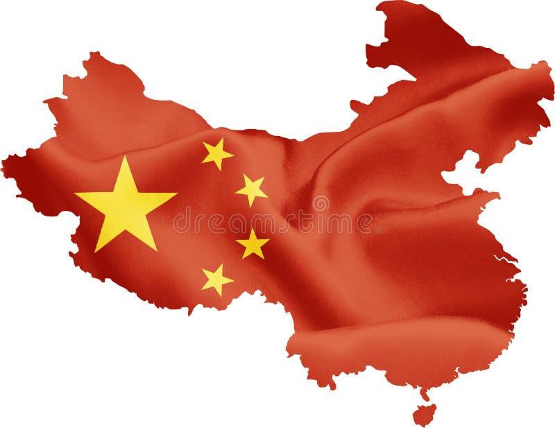 Översikt av Kina med flaggan stock illustrationer