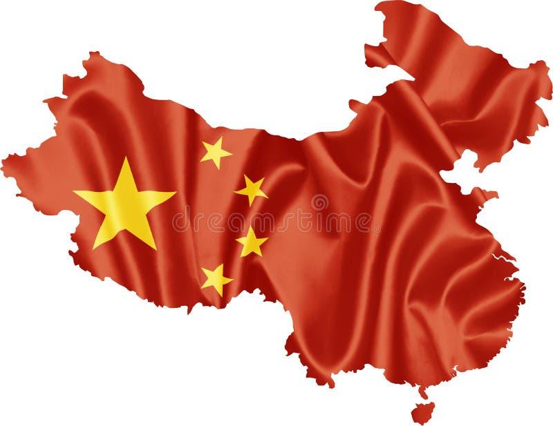 Översikt av Kina med flaggan royaltyfri illustrationer