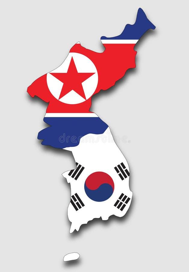 Översikt av Koreahalvö som fylls med söderna och den Nordkorea flaggan royaltyfri illustrationer