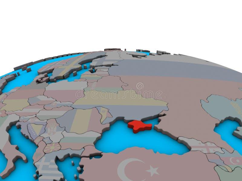 Översikt av Krim med flaggan på jordklotet vektor illustrationer