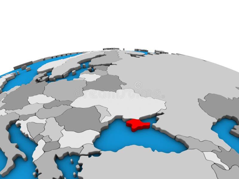 Översikt av Krim på jordklotet 3D royaltyfri illustrationer