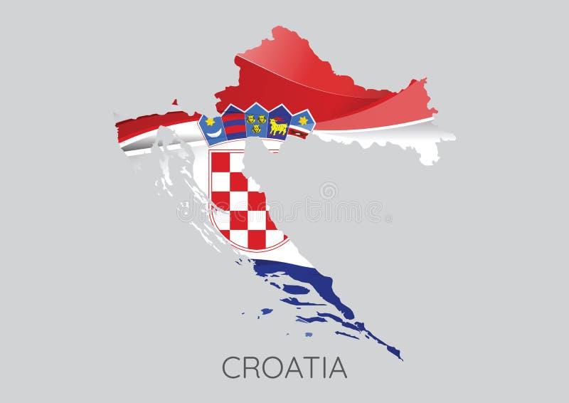 Översikt av Kroatien med flaggan som textur stock illustrationer
