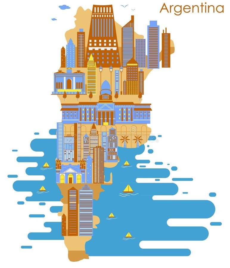 Översikt av landet Argentina med byggnad och den berömda monumentet royaltyfri illustrationer