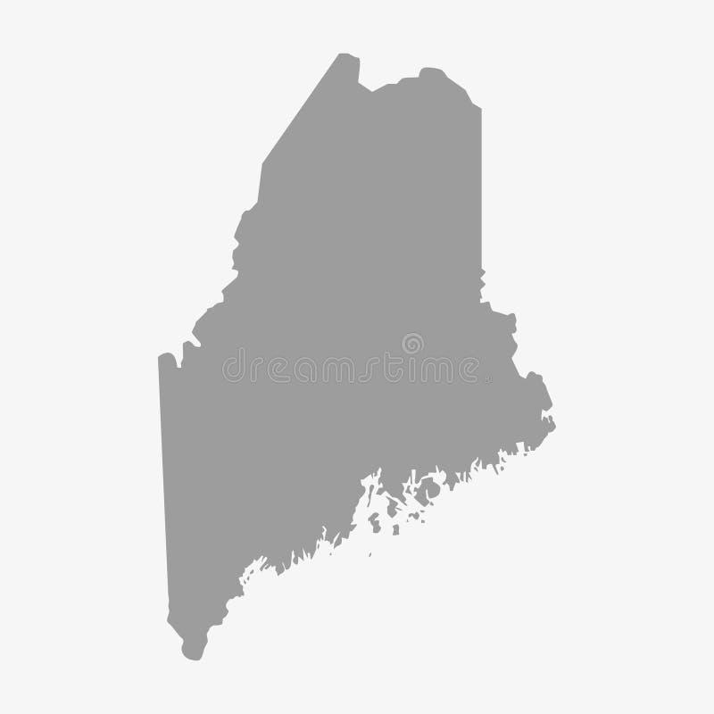 Översikt av Maine State i grå färger på en vit bakgrund royaltyfri illustrationer