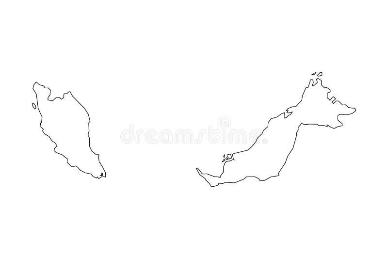 Översikt av Malaysia - översikt Kontur av den Malaysia översikten vektor illustrationer