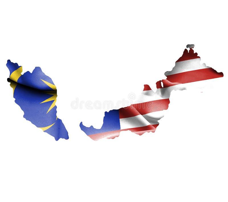Översikt av Malaysia med den vinkande flaggan som isoleras på vit vektor illustrationer