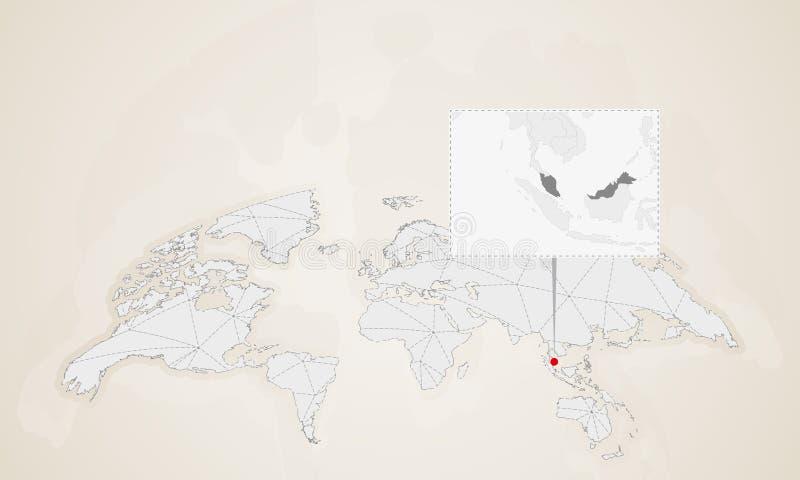 Översikt av Malaysia med gränsa till länder som klämmas fast på världskarta royaltyfri illustrationer