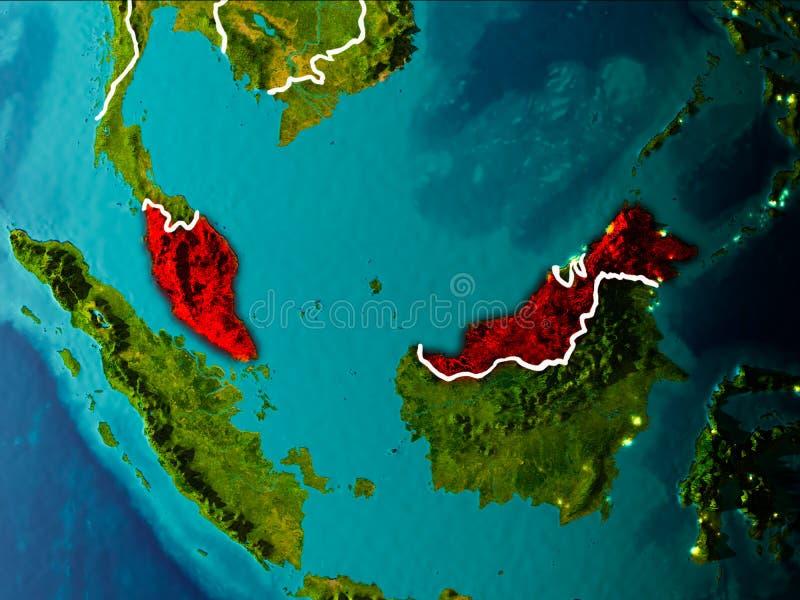 Översikt av Malaysia på jord royaltyfri illustrationer