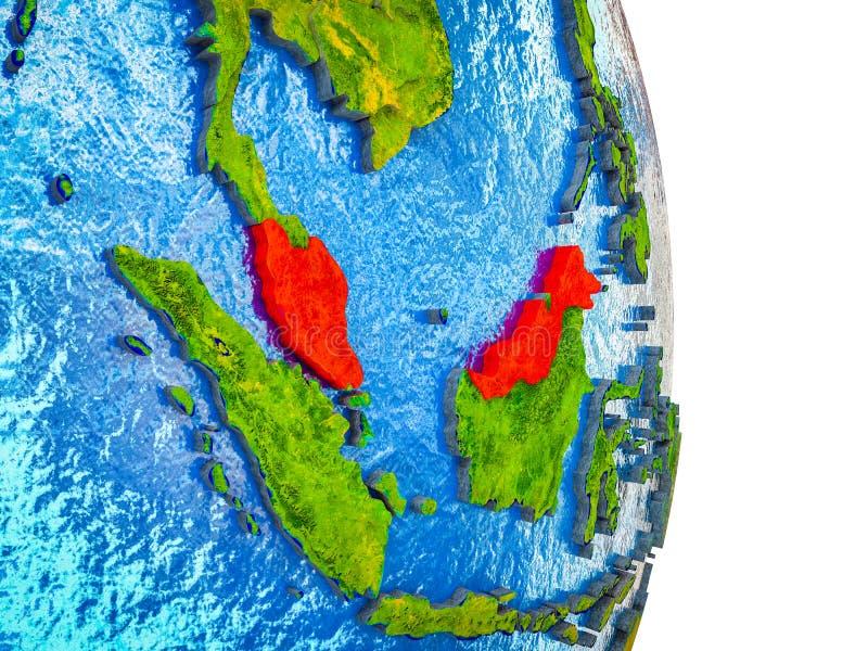 Översikt av Malaysia på jord 3D vektor illustrationer