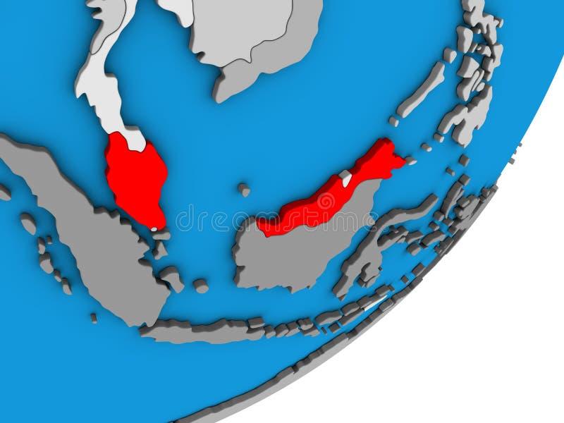 Översikt av Malaysia på jordklotet 3D stock illustrationer