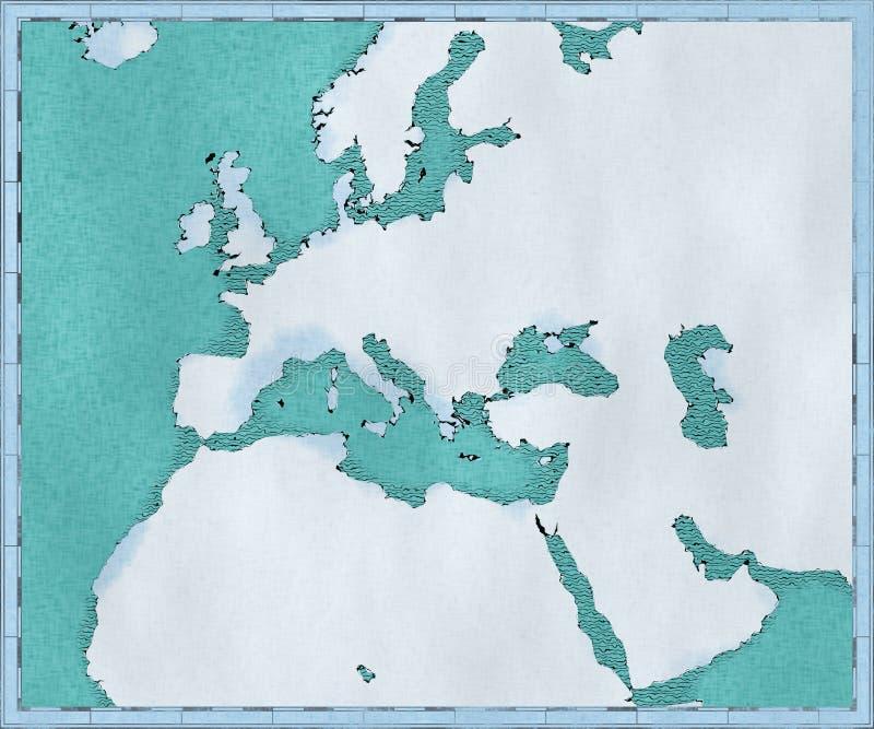 Översikt av medelhavet och Europa, Afrika och den Mellanösten kartografiet, geografisk kartbok stock illustrationer
