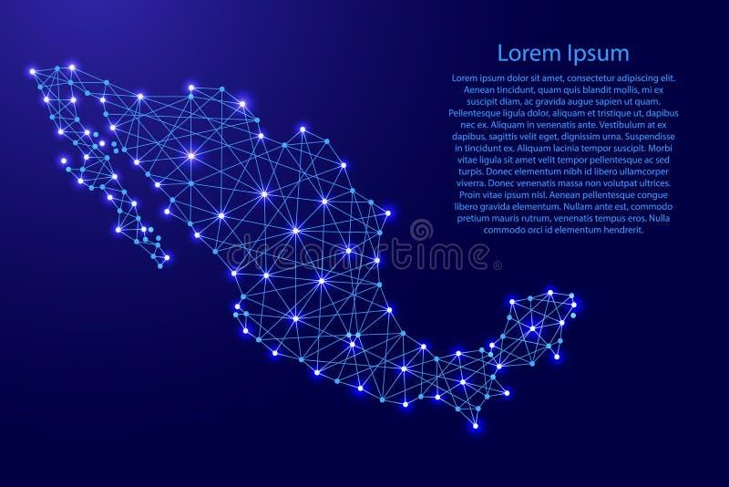 Översikt av Mexico från polygonal blålinjen, glödande stjärnavektorillustration royaltyfri illustrationer