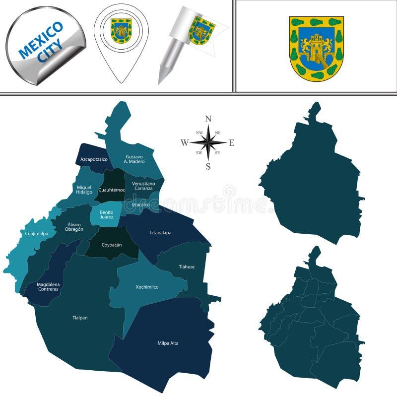 Översikt av Mexico - stad med kommuner stock illustrationer