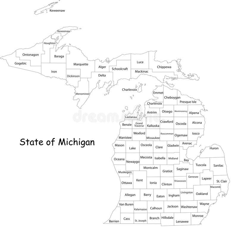 Översikt av Michigan vektor illustrationer