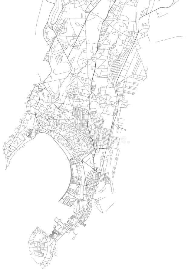 Översikt av Mumbai, satellit- sikt, stad, Indien stock illustrationer