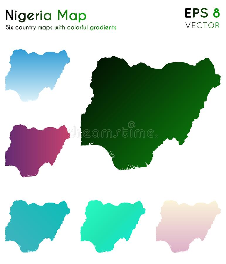 Översikt av Nigeria med härliga lutningar royaltyfri illustrationer