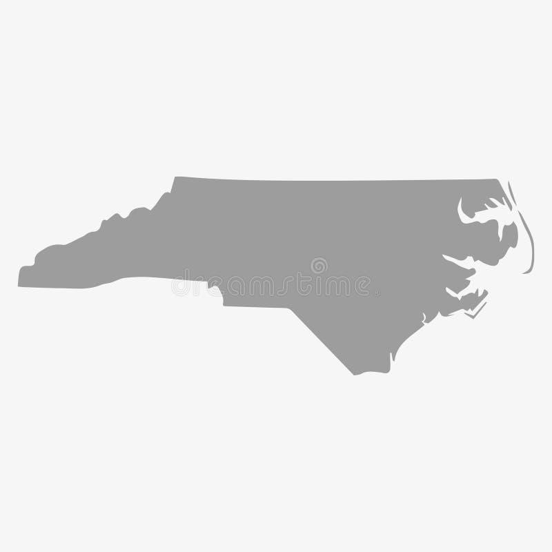 Översikt av norr Carolina State i grå färger på en vit bakgrund stock illustrationer