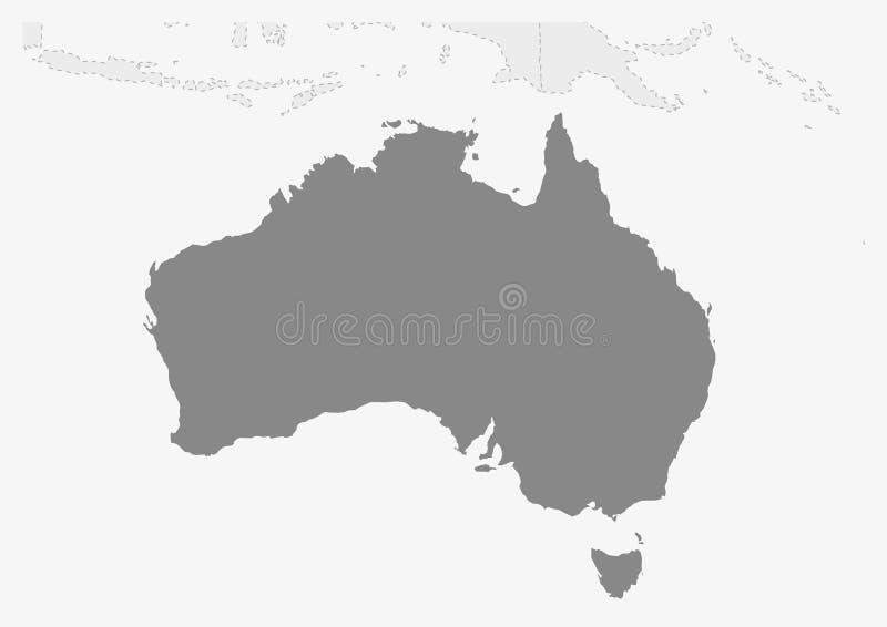 Översikt av Oceanien med den markerade Australien översikten stock illustrationer