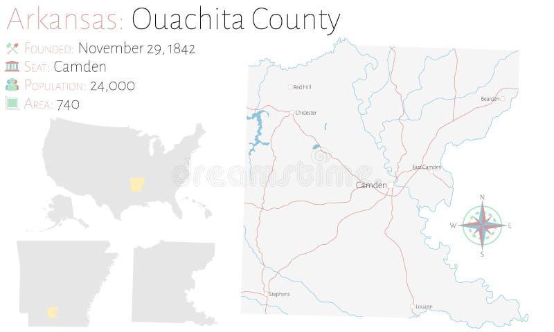 Översikt av Ouachita County i Arkansas stock illustrationer