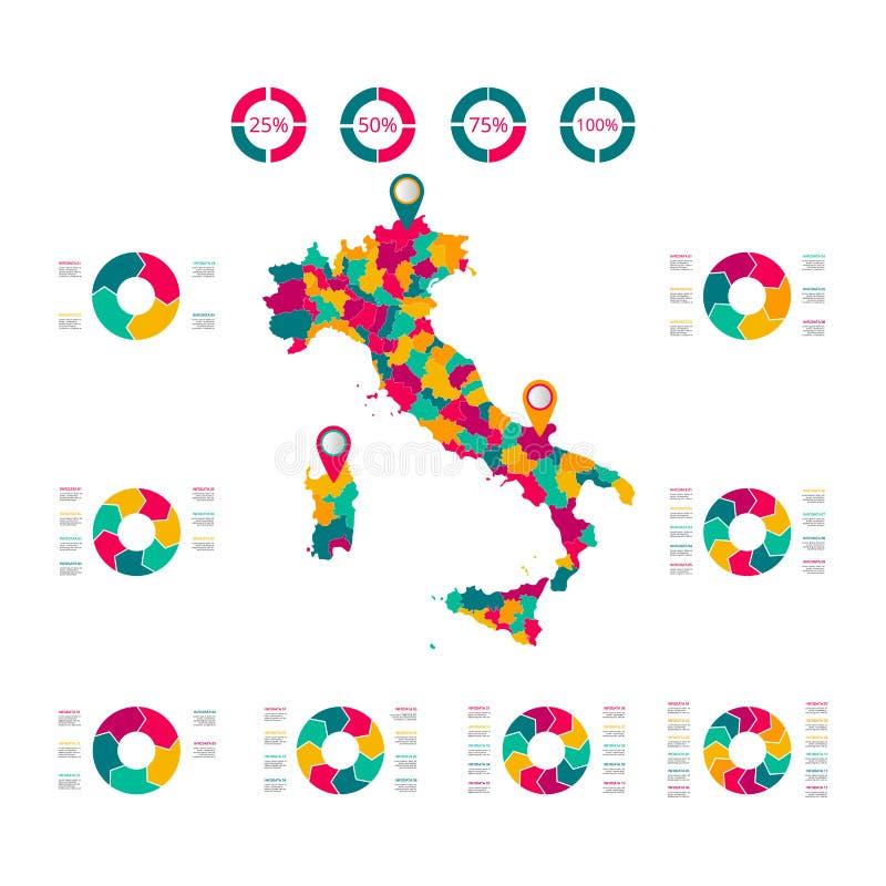 Översikt av Republiken Italien Vektorbild av en global översikt i form av regionregioner i Italien L?tt att redigera stock illustrationer