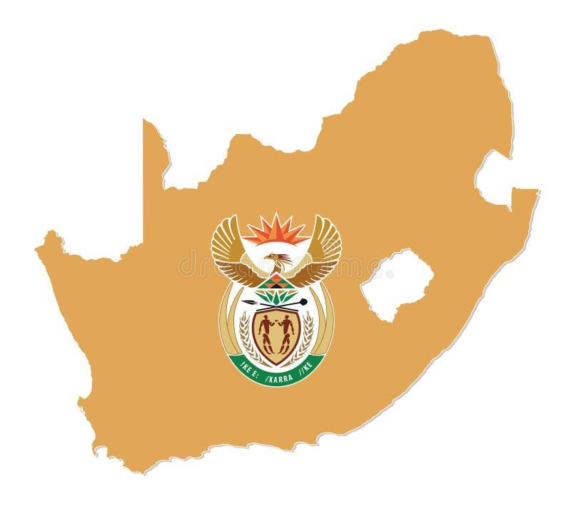 Översikt av Republiken Sydafrika med vapenskölden royaltyfri illustrationer