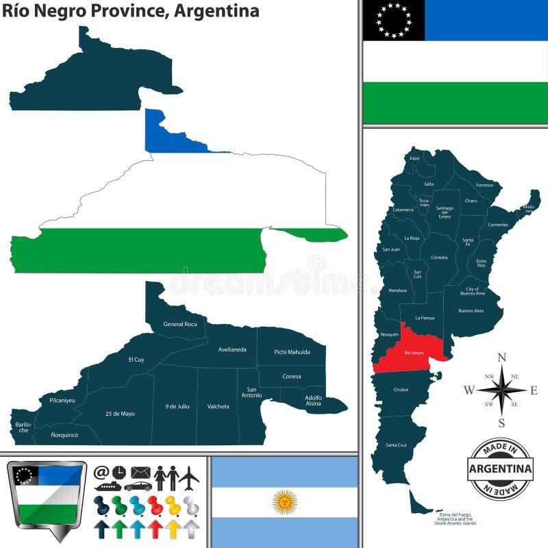 Översikt av Rio Negro Province, Argentina vektor illustrationer