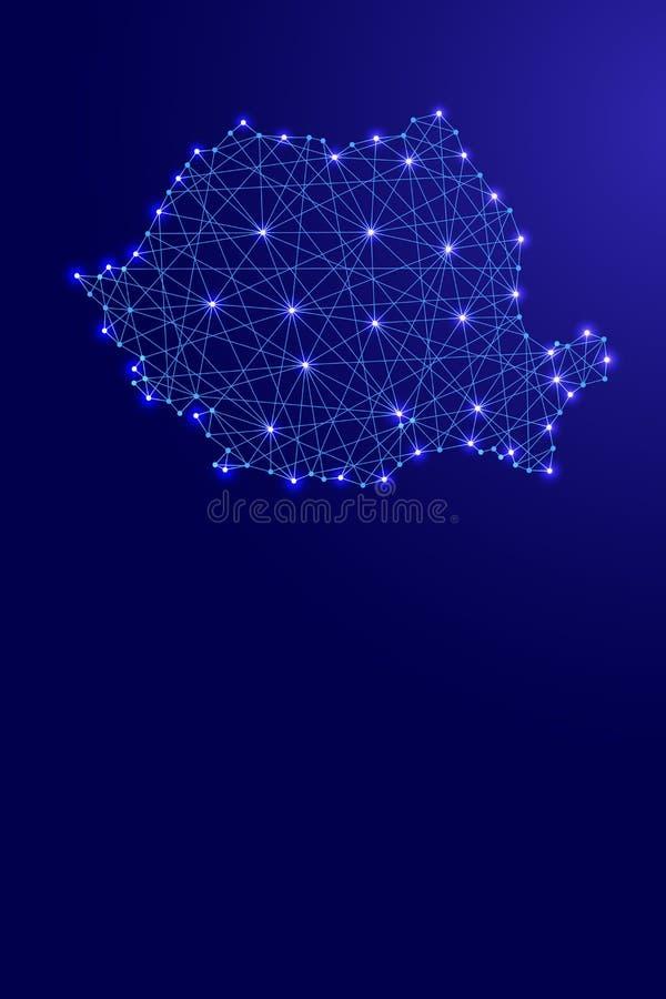 Översikt av Rumänien från polygonal blålinjen och glödande riktning för stående för stjärnaillustration vertikal stock illustrationer
