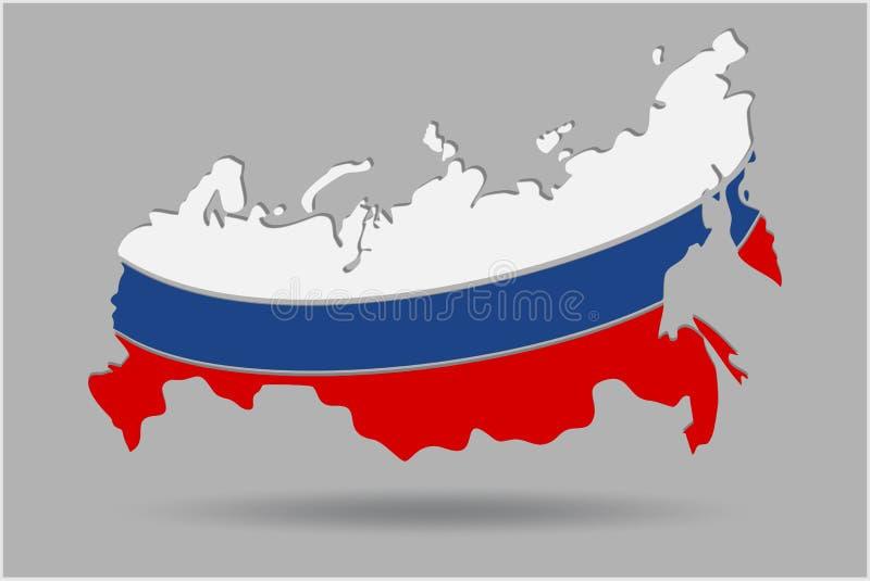 Översikt av rysk federation med nationsflagga isolerad 3d också vektor för coreldrawillustration stock illustrationer