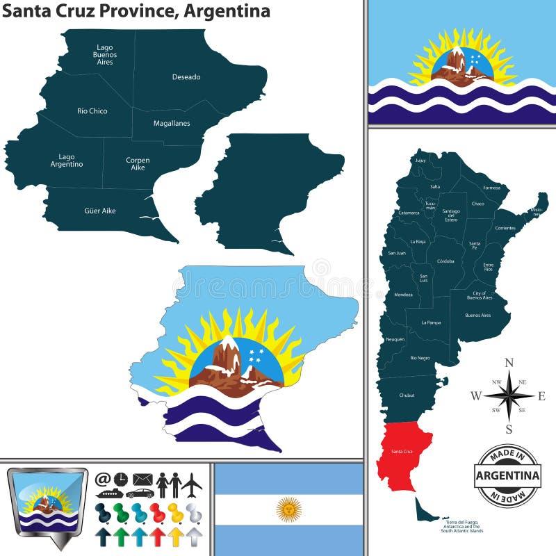 Översikt av Santa Cruz Province, Argentina royaltyfri illustrationer