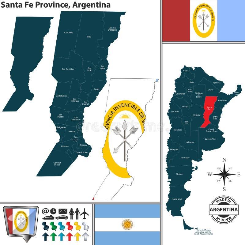 Översikt av Santa Fe Province, Argentina vektor illustrationer