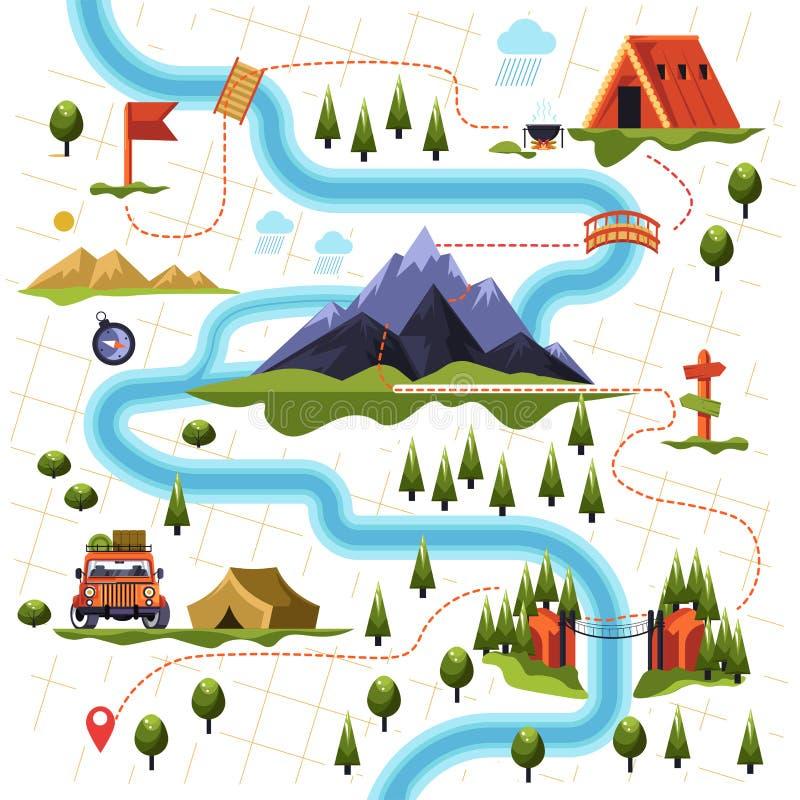 Översikt av skogen eller trän och berg som fotvandrar turism stock illustrationer