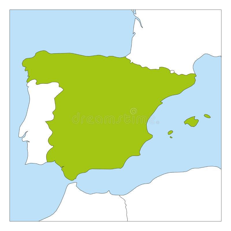 Översikt av Spanien gräsplan som markeras med gränsa till länder royaltyfri illustrationer