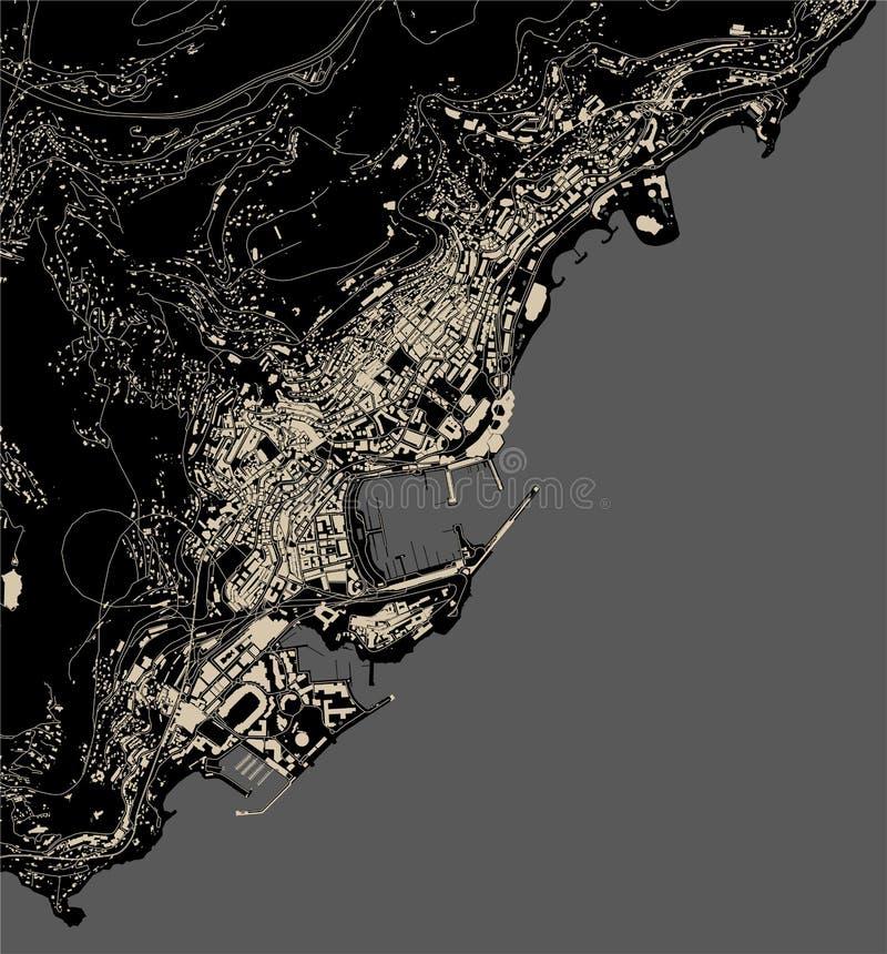 Översikt av staden av furstendömet av Monaco, franska Riviera stock illustrationer
