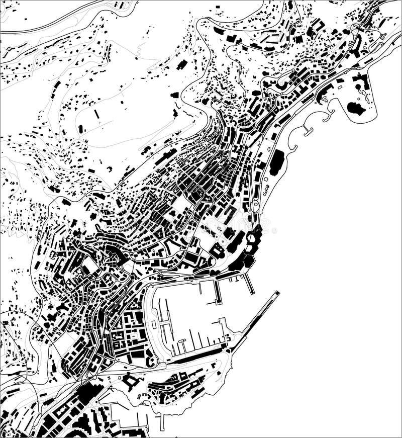 Översikt av staden av furstendömet av Monaco, franska Riviera royaltyfri illustrationer