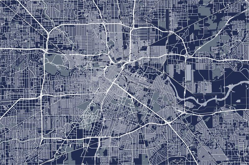 Översikt av staden av Houston, U S tillstånd texas USA royaltyfri illustrationer