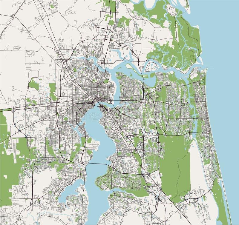 Översikt av staden av Jacksonville, Florida, USA royaltyfri illustrationer
