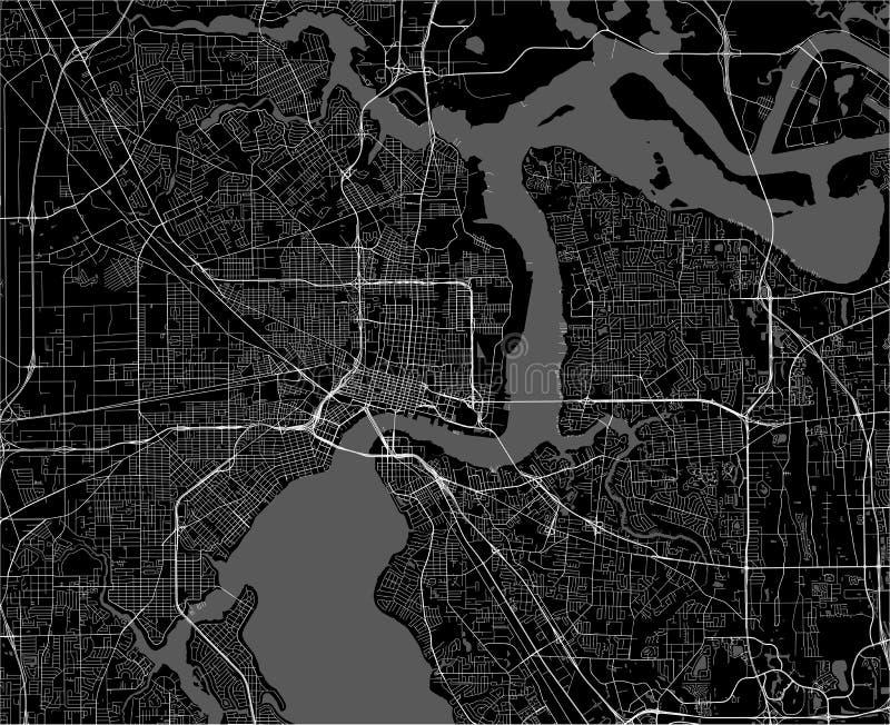 Översikt av staden av Jacksonville, Florida, USA vektor illustrationer
