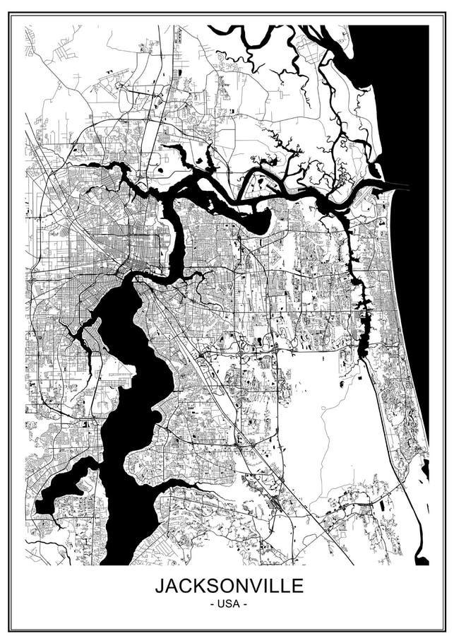 Översikt av staden av Jacksonville, Florida, USA stock illustrationer