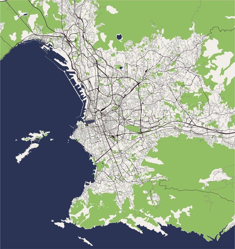 Översikt av staden av Marseille, Frankrike royaltyfri illustrationer